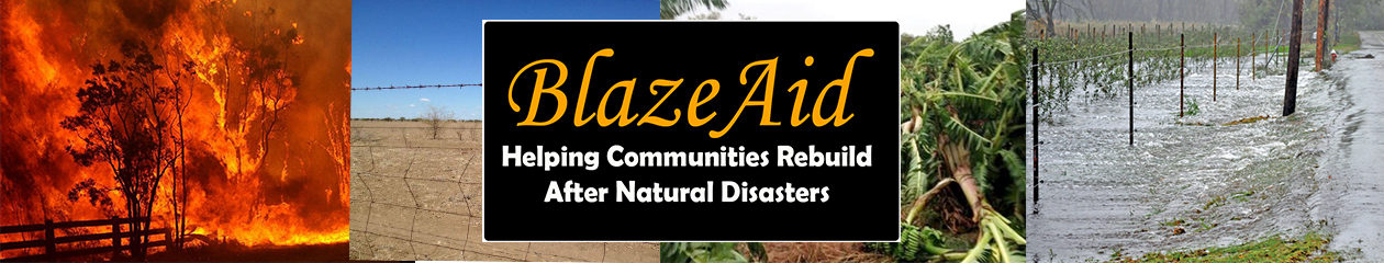 BlazeAid volunteers rebuild fences after fires, floods, drought and cyclones.